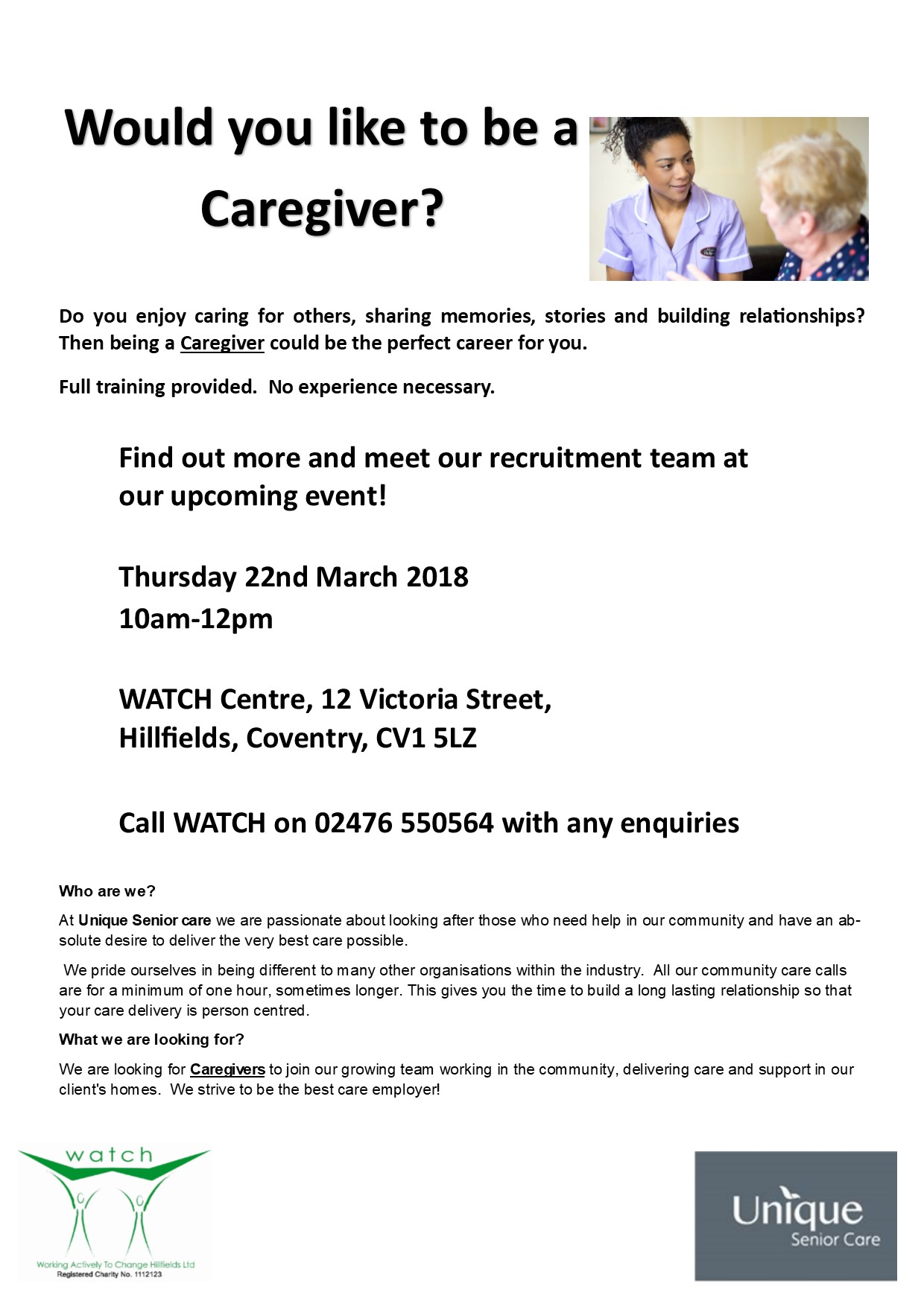Care Event At WATCH Centre Thursday 22nd March
